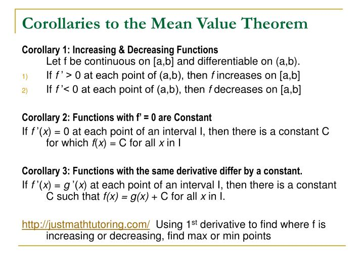 Corollaries to the Mean Value Theorem