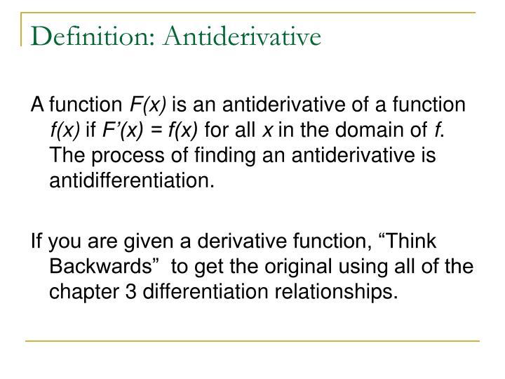 Definition: Antiderivative