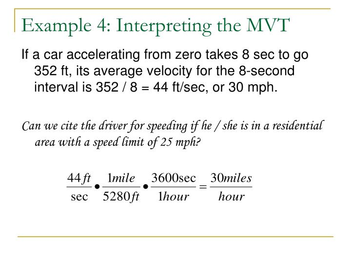 Example 4: Interpreting the MVT