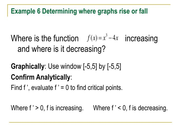 Example 6 Determining where graphs rise or fall