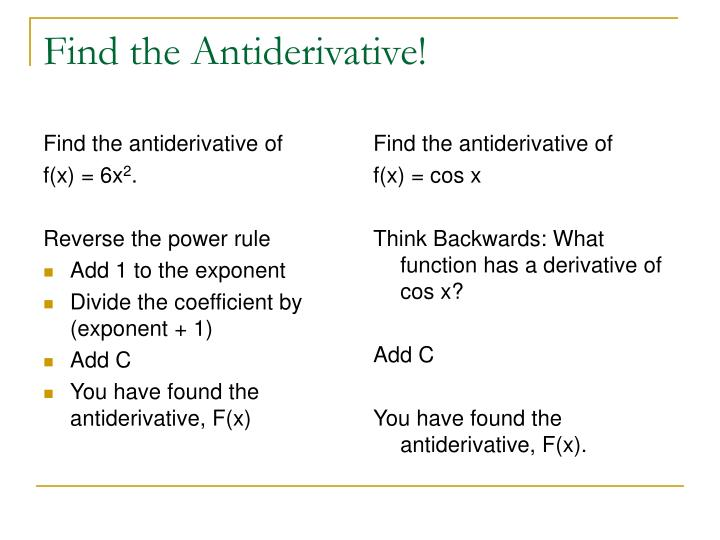 Find the antiderivative of