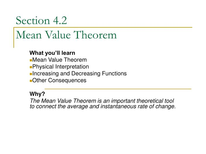 Section 4 2 mean value theorem