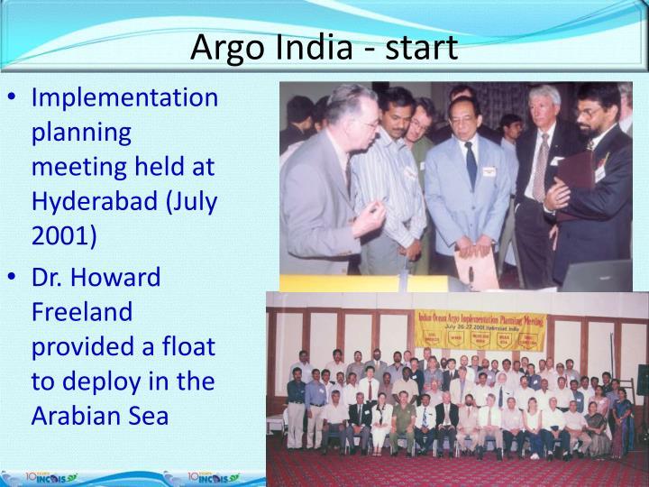 Argo India - start