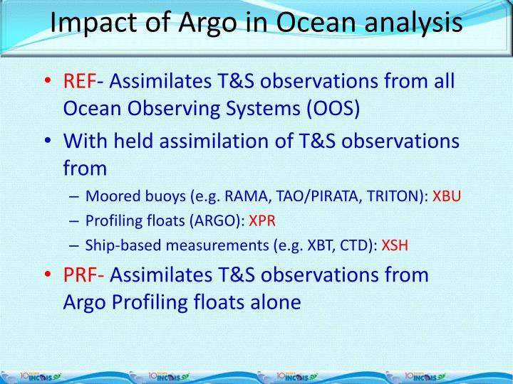 Impact of Argo in Ocean analysis