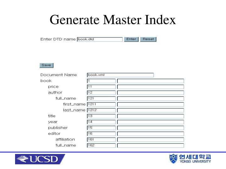 Generate Master Index