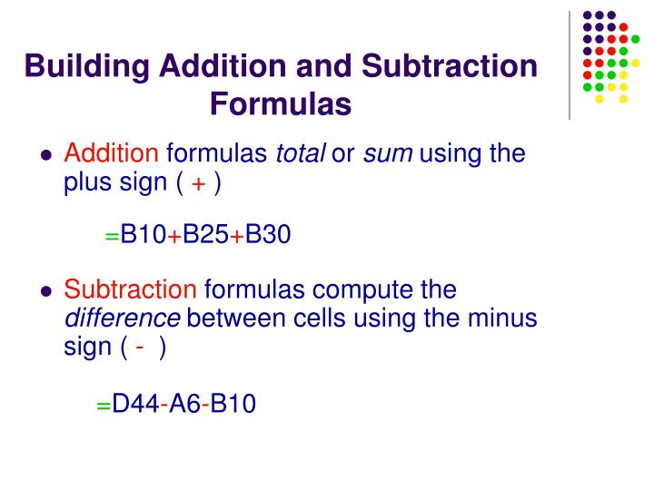 Building Addition and Subtraction Formulas