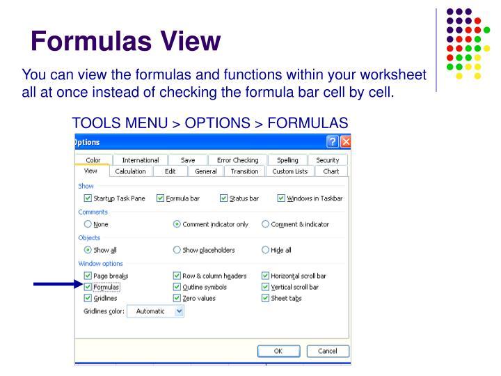 Formulas View