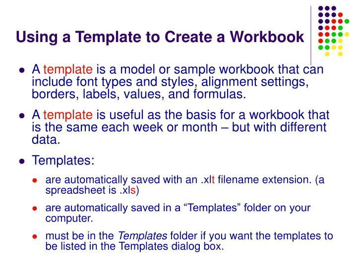 Using a Template to Create a Workbook