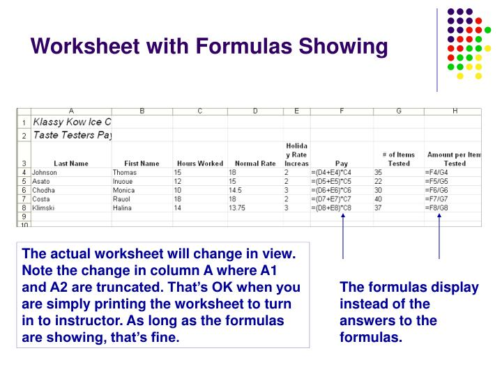 Worksheet with Formulas Showing