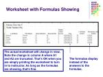 worksheet with formulas showing
