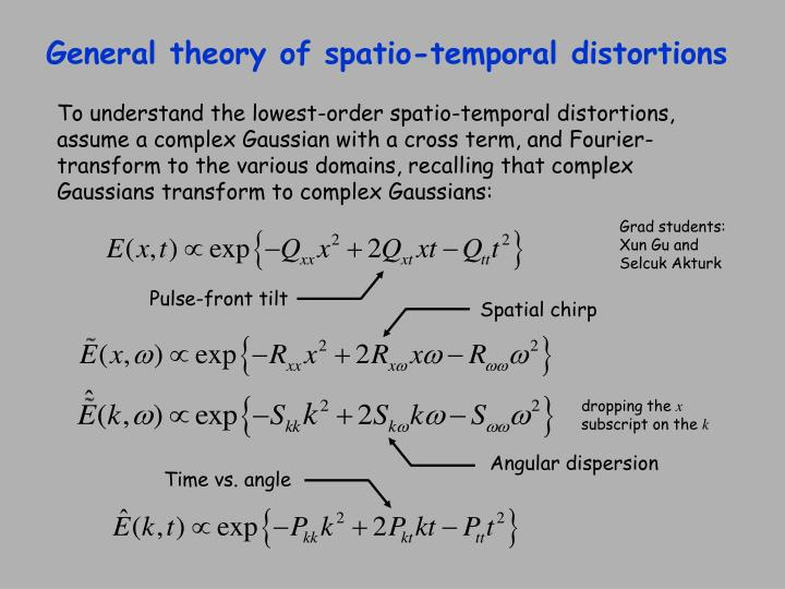 General theory of spatio-temporal distortions