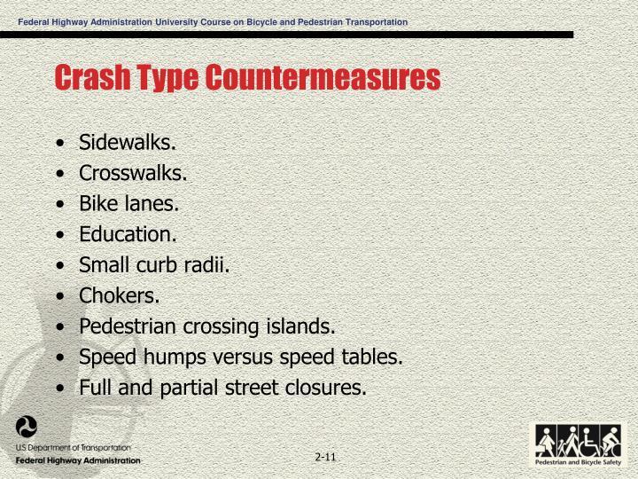 Crash Type Countermeasures