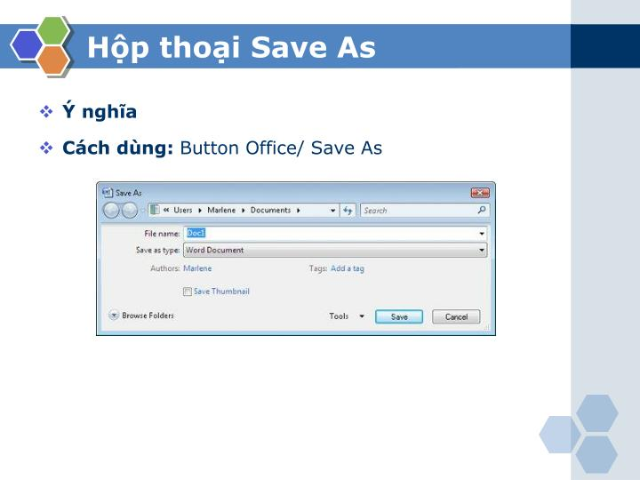 Hộp thoại Save As