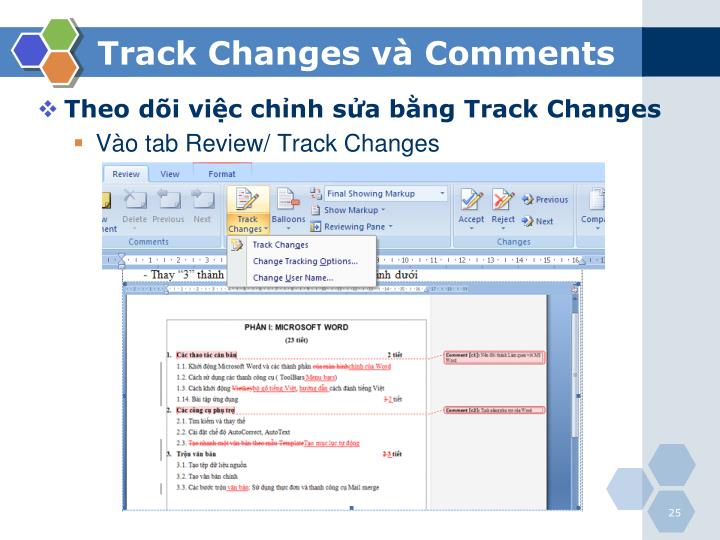 Track Changes và Comments