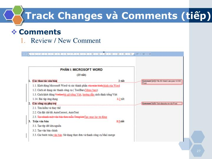Track Changes và Comments (tiếp)