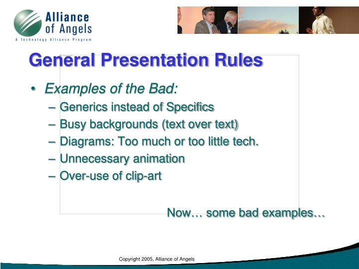 General Presentation Rules