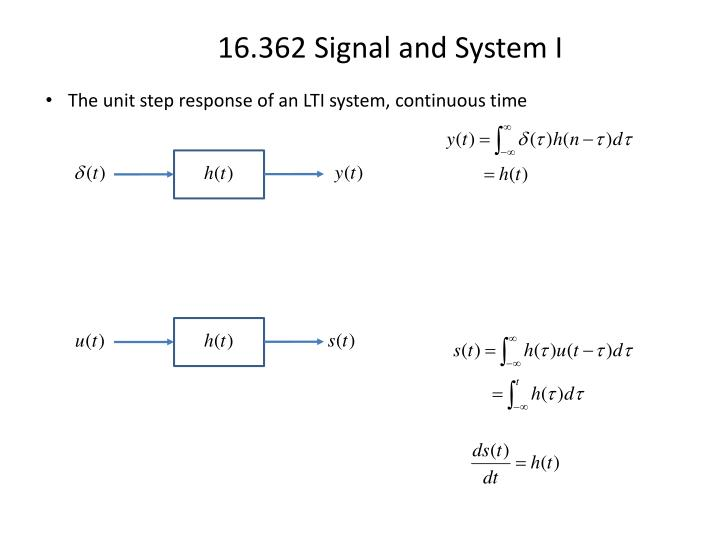 The unit step response of an LTI system, continuous time