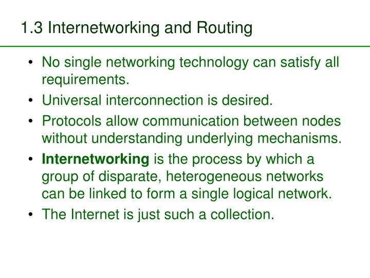 1.3 Internetworking and Routing