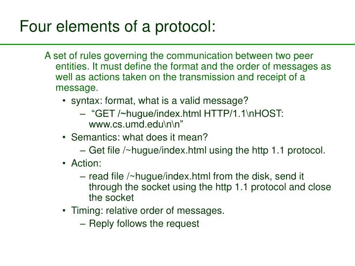 Four elements of a protocol: