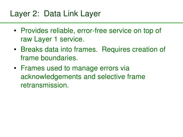 Layer 2:  Data Link Layer