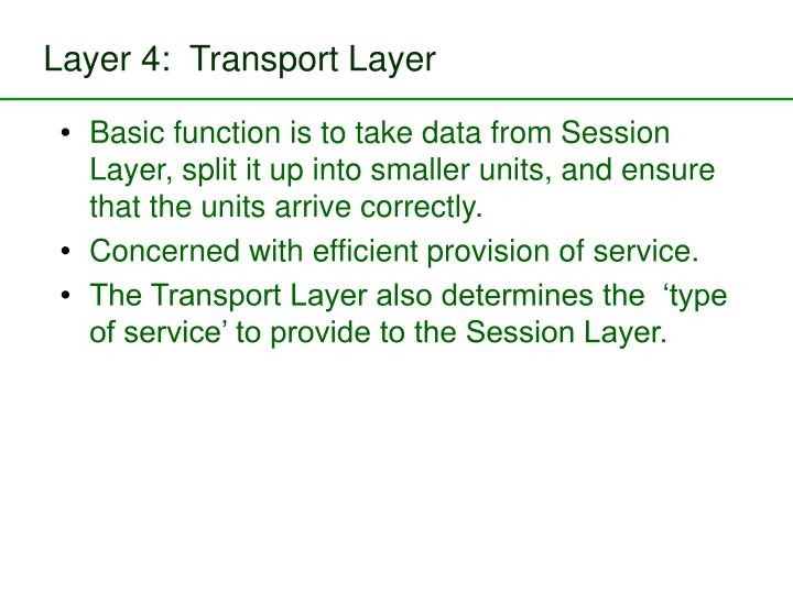 Layer 4:  Transport Layer