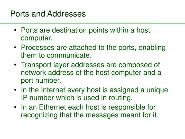 Ports and Addresses