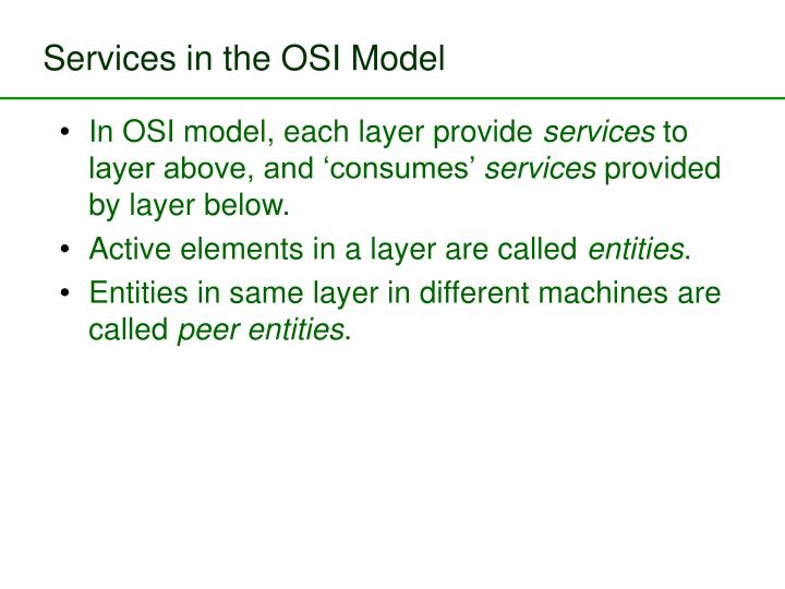 Services in the OSI Model
