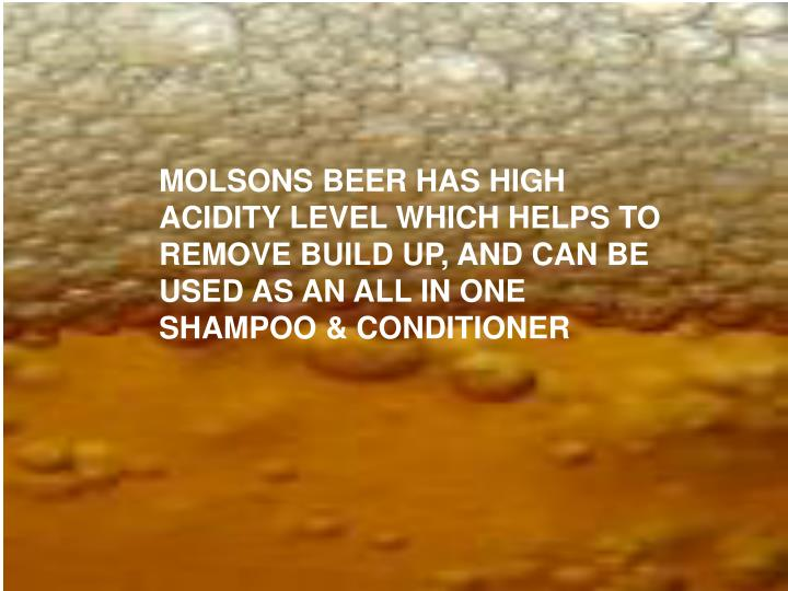 MOLSONS BEER HAS HIGH ACIDITY LEVEL WHICH HELPS TO REMOVE BUILD UP, AND CAN BE USED AS AN ALL IN ONE SHAMPOO & CONDITIONER