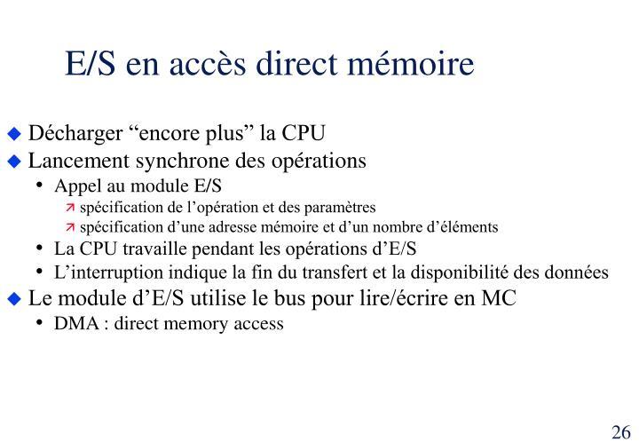 E/S en accès direct mémoire