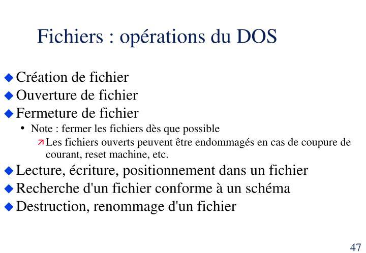 Fichiers : opérations du DOS