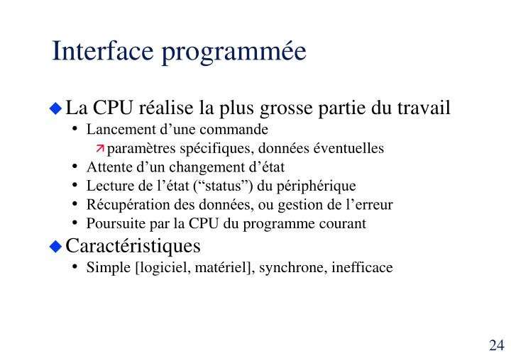 Interface programmée