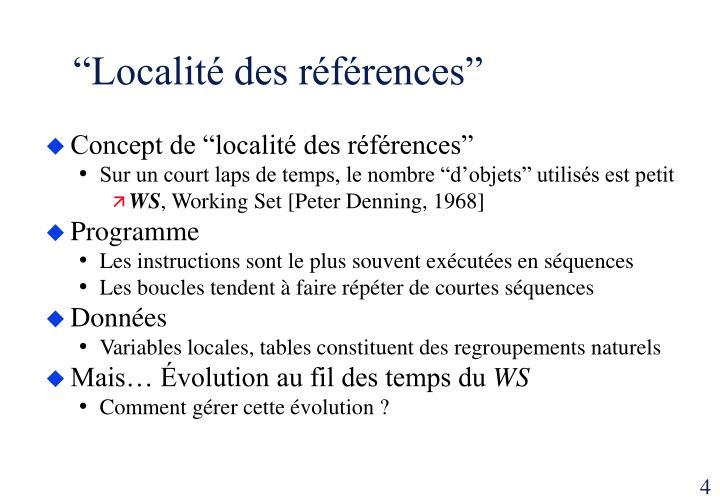 """""""Localité des références"""""""