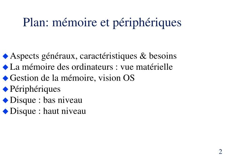 Plan: mémoire et périphériques