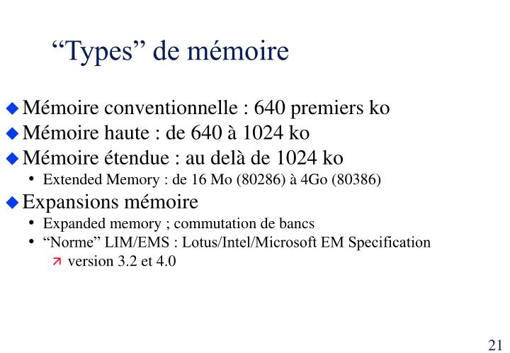 """Types"" de mémoire"
