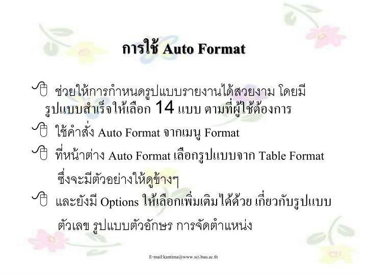 การใช้ Auto Format
