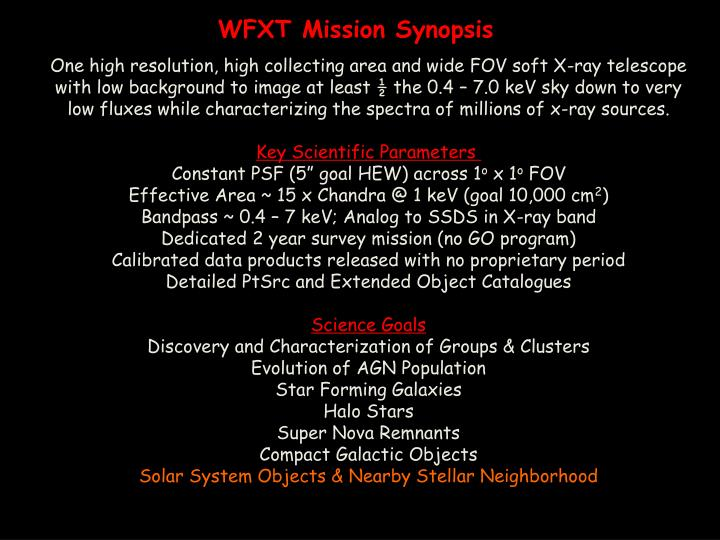 WFXT Mission Synopsis