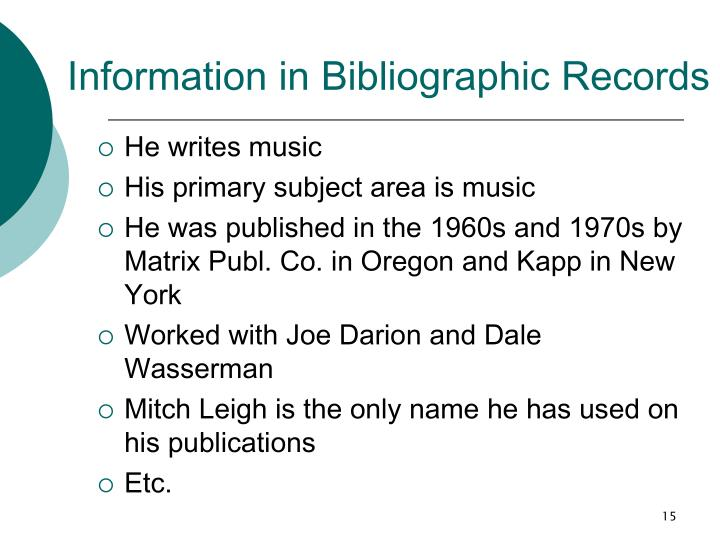 Information in Bibliographic Records