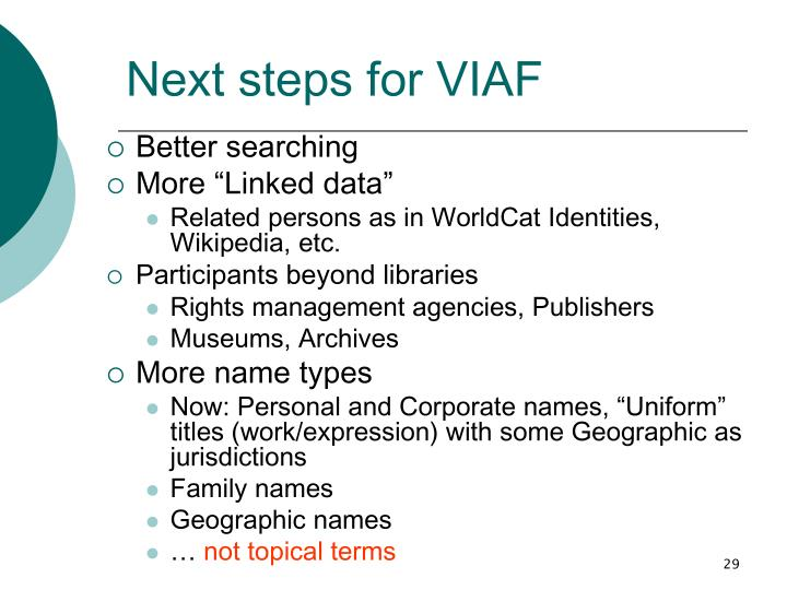 Next steps for VIAF