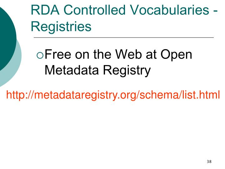 RDA Controlled Vocabularies - Registries
