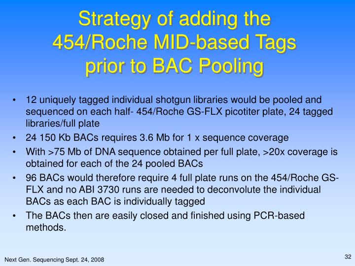 Strategy of adding the 454/Roche MID-based Tags prior to BAC Pooling