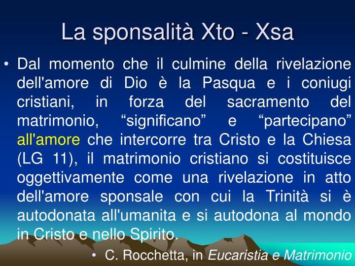 La sponsalità Xto - Xsa