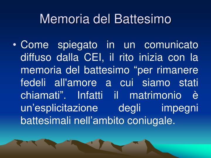 Memoria del Battesimo