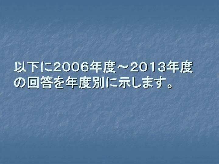 以下に2006年度~2013年度の回答を年度別に示します。