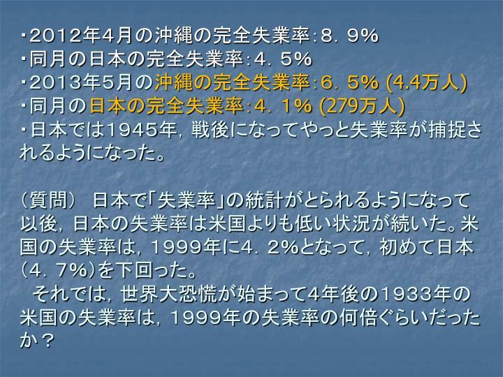 ・2012年4月の沖縄の完全失業率:8.9%