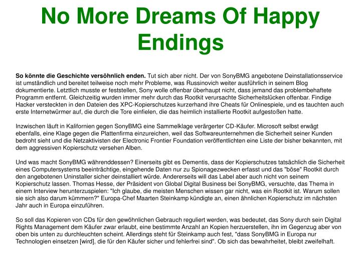 No More Dreams Of Happy Endings