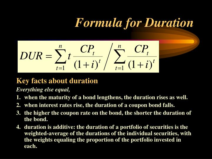 Formula for Duration