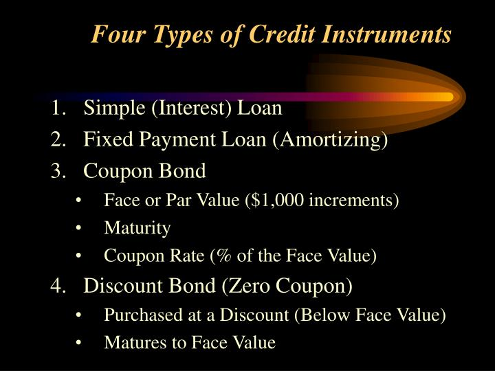 Four types of credit instruments