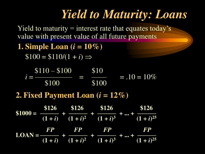 Yield to Maturity: Loans