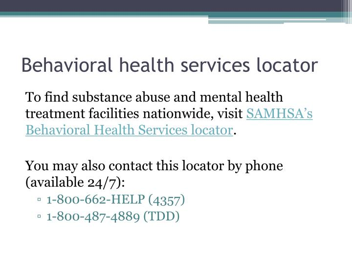 Behavioral health services locator