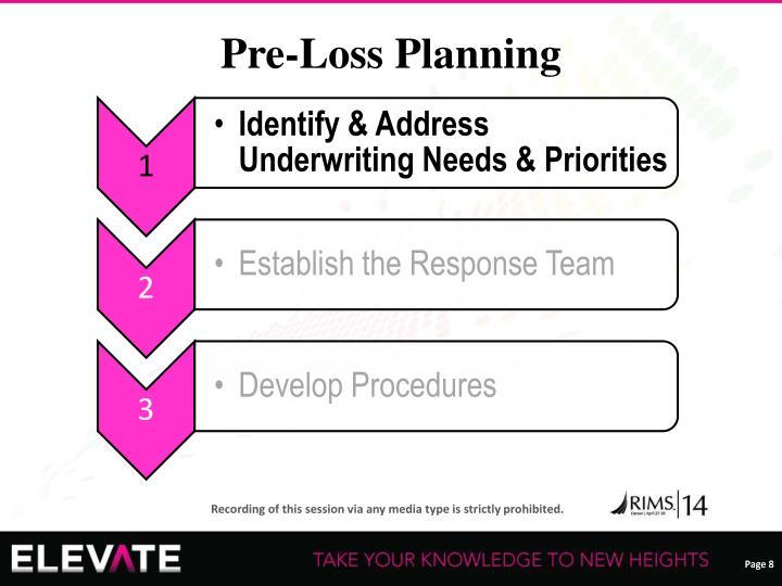 Pre-Loss Planning